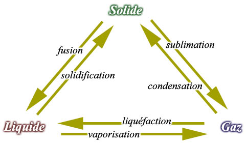 Les états de la matière : solide, liquide et gaz.